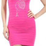 Sexy Fuchsia Or Black Net Snug Dress With Bling! O/S